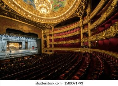 PARIS - NOVEMBER 30, 2019 : An interior view of Opera de Paris, Palais Garnier. It was built from 1861 to 1875 for the Paris Opera house.