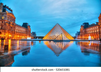 PARIS - NOVEMBER 4: The Louvre Pyramid on November 4, 2016 in Paris, France. It serves as the main entrance to the Louvre Museum. Completed in 1989 it has become a landmark of Paris.