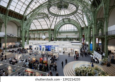 PARIS - NOVEMBER 7, 2018: Paris Photo art fair with people, visitors and art collectors at Grand Palais in Paris, France.