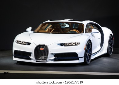 PARIS - OCT 2, 2018: Bugatti Chiron 8.0 W16 DSG Sequential sports car showcased at the Paris Motor Show.