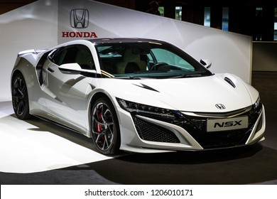 PARIS - OCT 2, 2018: Honda NSX sports car showcased at the Paris Motor Show.