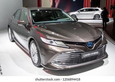 PARIS - OCT 2, 2018: New Toyota Camry Hybrid car reveiled at the Paris Motor Show.