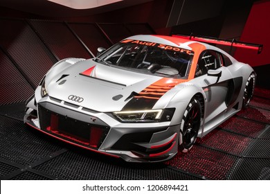 PARIS - OCT 2, 2018: New Audi R8 LMS GT3 race car unveiled at the Paris Motor Show.