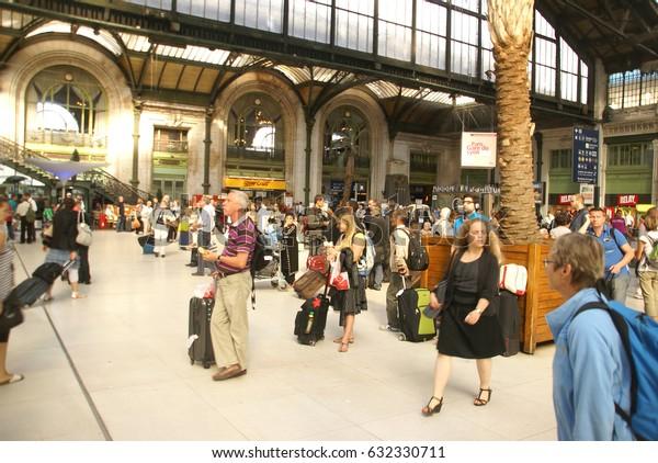 PARIS - OCT 3, 2011 - Passengers arrive at the Gare de Lyon railway station,  on Oct 3, 2011, in Paris, France.