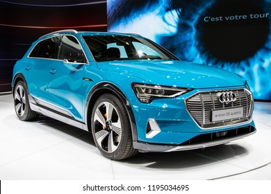 PARIS - OCT 3, 2018: Audi E-Tron first all-electric SUV car presented at the Paris Motor Show.