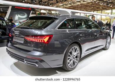 PARIS - OCT 3, 2018: Audi A6 50 TDI quattro car presented at the Paris Motor Show.