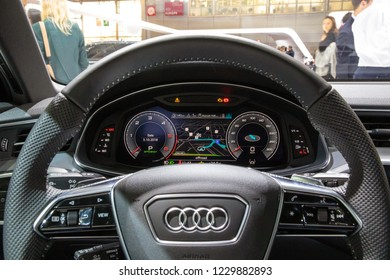 PARIS - OCT 3, 2018: Driver view of the new Audi A6 car interior at the Paris Motor Show.