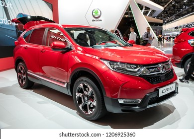 PARIS - OCT 3, 2018: Honda CR-V hybrid SUV car showcased at the Paris Motor Show.