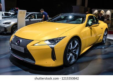 PARIS - OCT 3, 2018: Lexus LC 500h hybrid grand tourer luxury car presented at the Paris Motor Show.