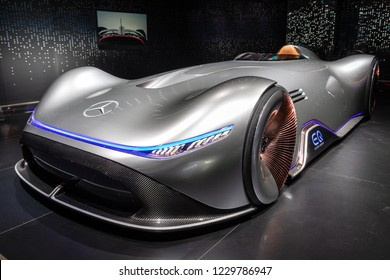 PARIS - OCT 3, 2018: Mercedes Benz Concept EQ Silver Arrow Electric Intelligence car showcased at the Paris Motor Show.