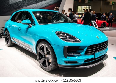 PARIS - OCT 3, 2018: New 2019 Porsche Macan SUV car presented at the Paris Motor Show.