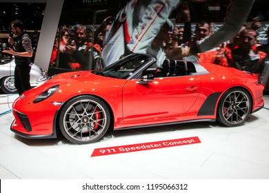 PARIS - OCT 3, 2018: New Porsche 911 Speedster sports car unveiled at the Paris Motor Show.