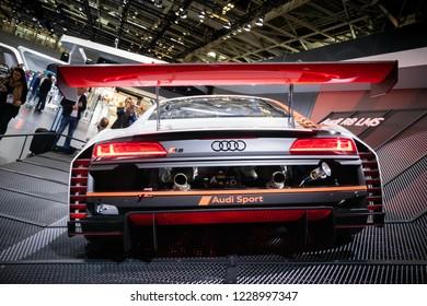 PARIS - OCT 3, 2018: New Audi R8 LMS GT3 race sports car unveiled at the Paris Motor Show.