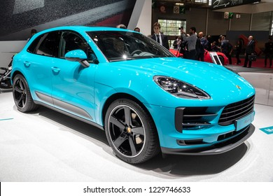 PARIS - OCT 3, 2018: New 2019 Porsche Macan SUV car presented at the Paris Motor Show.