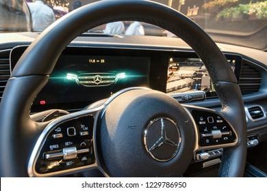 PARIS - OCT 3, 2018: New 2020 Mercedes GLE 300d 4MATIC car interior showcased at the Paris Motor Show.