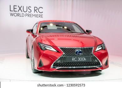 PARIS - OCT 3, 2018: New Lexus RC300h hypred sport coupe car presented at the Paris Motor Show.