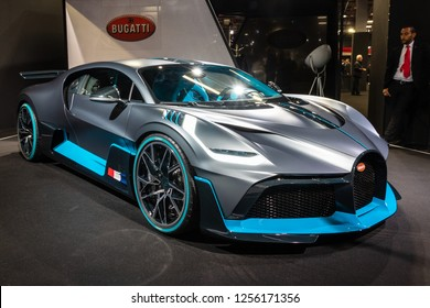 PARIS - OCT 3, 2018: New 2020 Bugatti Divo extreme hypercar showcased at the Paris Motor Show.