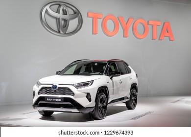 PARIS - OCT 3, 2018: Toyota RAV4 Hybrid car showcased at the Paris Motor Show.