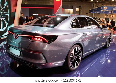 PARIS - OCT 3, 2018: VinFast Lux A2.0 sedan car showcased at the Paris Motor Show.