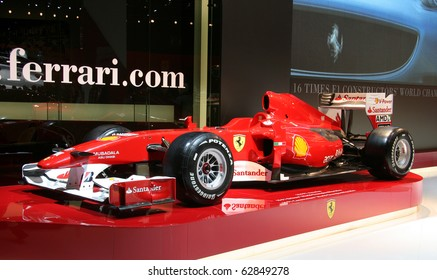 PARIS - OCTOBER 11: Ferrari Formula 1 car at the company's stand during the Paris Motor Show 2010 at Porte de Versailles, on October 11, 2010 in Paris, France