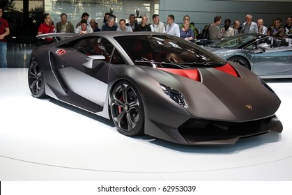 PARIS - OCTOBER 11: Lamborghini Sesto Elemento Concept at the Paris Motor Show 2010 at Porte de Versailles, on October 11, 2010 in Paris, France
