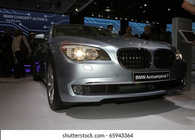 PARIS - OCTOBER 12: The new BMW 7 Series ActiveHybrid displayed at the 2010 Paris Motor Show on October 12, 2010 in Paris