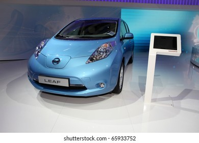 PARIS - OCTOBER 12: The new Nissan Leaf displayed at the 2010 Paris Motor Show on October 12, 2010 in Paris