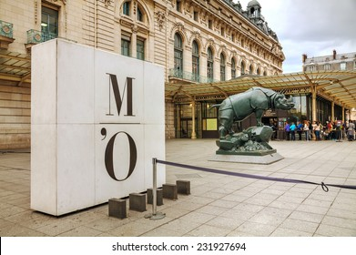PARIS - OCTOBER 12: Rhino sculpture at D'Orsay museum on October 12, 2014 in Paris, France. The Musee d'Orsay is a museum in Paris, on the left bank of the Seine.