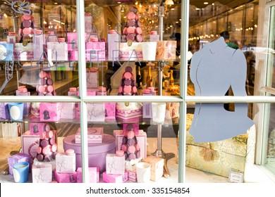PARIS - OCTOBER 14, 2014: Famous Laduree bakery and tea room in Paris, France.