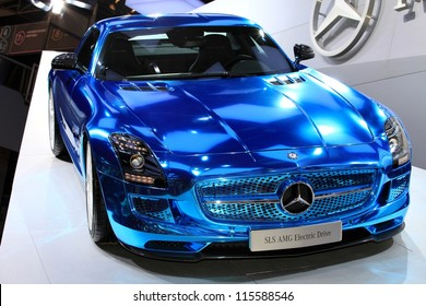 PARIS - OCTOBER 14: The Mercedes SLS AMG Electric Drive displayed at the 2012 Paris Motor Show on October 14, 2012 in Paris