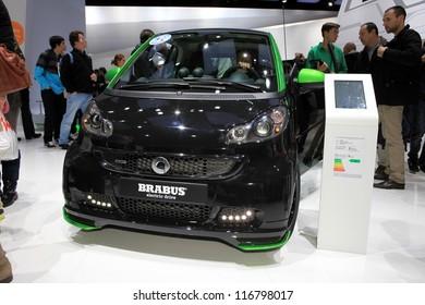PARIS - OCTOBER 14: The Smart Brabus Electric Drive displayed at the 2012 Paris Motor Show on October 14, 2012 in Paris
