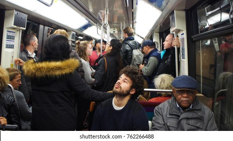 Paris, October 7, 2017 : View of the train in the heart of Paris in the morning every day always packed with passengers