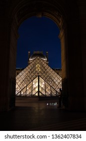 PARIS - OCTOBER 8, 2018 Louvre museum at twilight in summer. Louvre Museum is one of the world's largest museums, every year museum visits more than 8 million visitors.