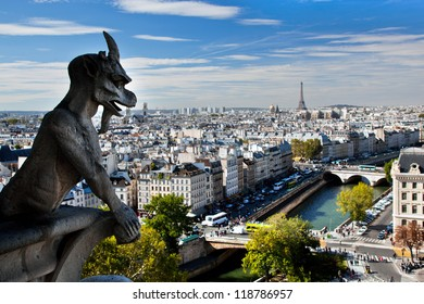 Paris panorama, France. View on Eiffel Tower and Seine river from Notre Dame Cathedral