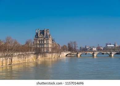 Paris, panorama of the pont Royal, the quai Anatole-France, and Notre-Dame cathedral in background