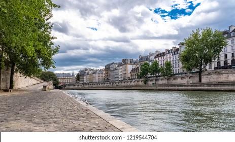 Paris, panorama of the quai de Conti, typical view of the quays