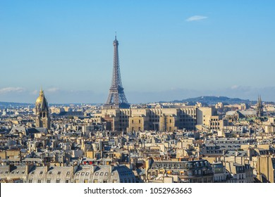 Paris Panorama at sunset. View from Cathedral Notre Dame de Paris. France.