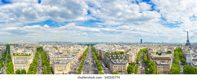 Paris, panoramic aerial view of Champs Elysees boulevard and other building landmarks.