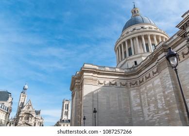 Paris, the Pantheon, in the Quartier latin, and Saint-Etienne-du-Mont church in background