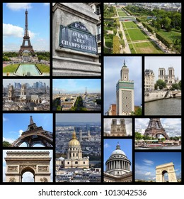 Paris photos collage - France capital city landmark postcard collection.