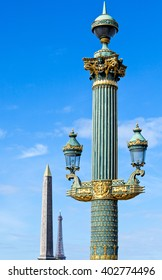 Paris, Place de la Concorde, a classic street lamp and the Egyptian obelisk