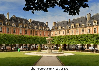Paris, Place des Vosges. Place Royale lin Marais district. France.