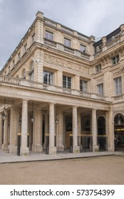 Paris, place of Palais-Royal, architectural perspective in winter