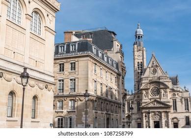 Paris, the Quartier latin, the Saint-Etienne-du-Mont church in background