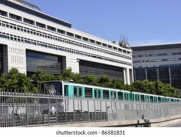 Paris RER train traveling along the Boulevard  Bercy , in Paris France
