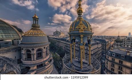 Paris roofs viewed from Haussmann boulevard