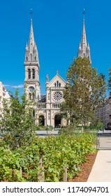 Paris, Saint-Ambroise church, boulevard Voltaire, and the Truillot garden, public park
