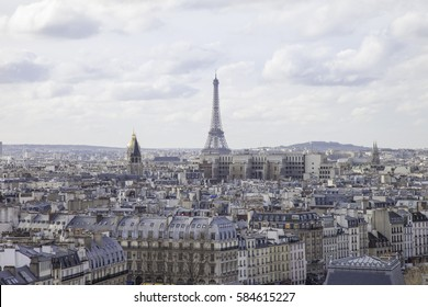 Paris seen from the top of Notre Dame with eiffel tower in background