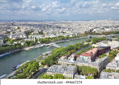 Paris Seine river cityscape. Aerial view with Elysee district.