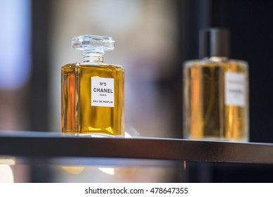 PARIS - SEP 02: Bottle of Chanel No5 perfume on the glass shelf in Paris on September 02. 2016 in France